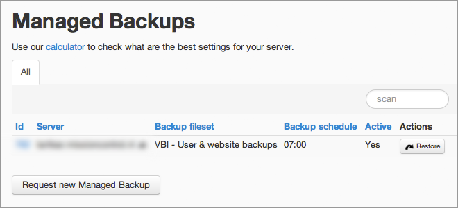 hosting: managed backup