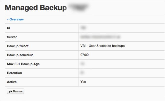 managed backup: details