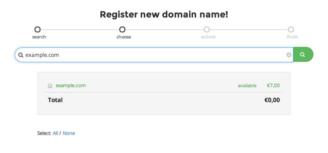 Registreer een nieuw domein