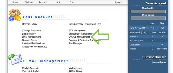Klik op MySQL Management