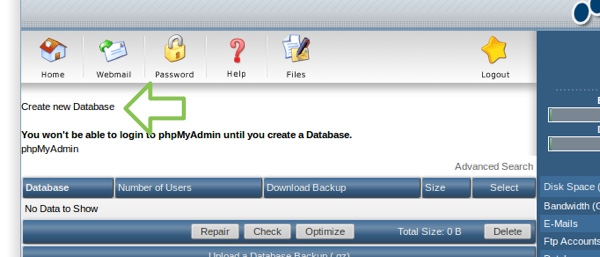 Klik op create new database